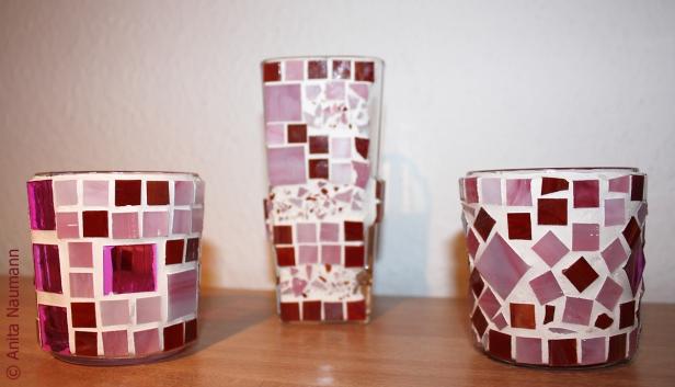 Dreier Kombination Rosa und Bordeaux mit Splitterelementen